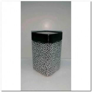 METALLIC GLASS PEARLS 3-3,5 MM. 350ML.PLATA