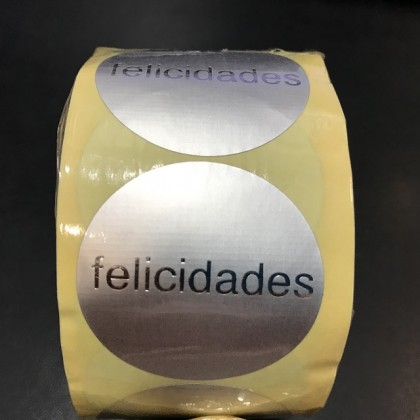 ROLLO ETIQUETAS 500 RODONA FELICIDADES PLATA