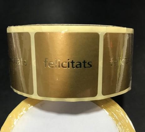 ROLLO ETIQUETAS FELICITATS 500UNI ORO